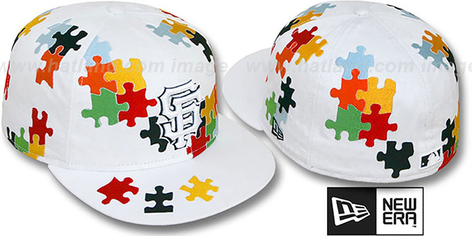 SF Giants 'PUZZLE' White Fitted Hat by New Era : pictured without stickers that these products are shipped with