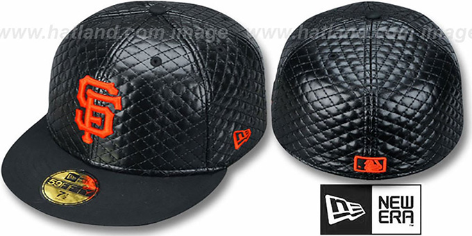 SF Giants 'QUILTE' Black Fitted Hat by New Era : pictured without stickers that these products are shipped with