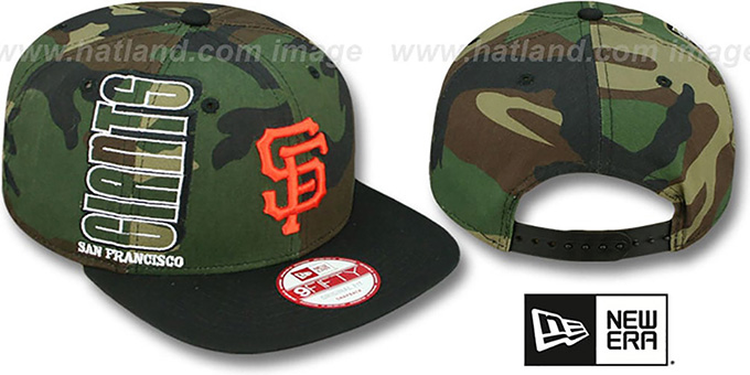 SF Giants 'RALLYMARK SNAPBACK' Army-Black Hat by New Era : pictured without stickers that these products are shipped with
