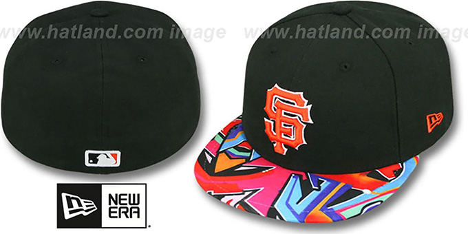 SF Giants 'REAL GRAFFITI VIZA-PRINT' Black Fitted Hat by New Era : pictured without stickers that these products are shipped with