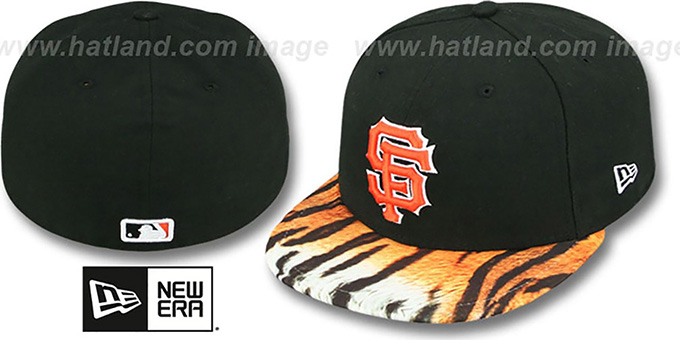SF Giants 'REAL TIGER VIZA-PRINT' Black Fitted Hat by New Era : pictured without stickers that these products are shipped with