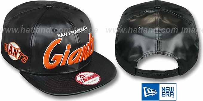 SF Giants 'REDUX SNAPBACK' Black Hat by New Era : pictured without stickers that these products are shipped with