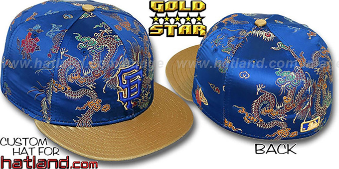 SF Giants 'SATIN DRAGONS' Royal-Gold Fitted Hat by New Era : pictured without stickers that these products are shipped with