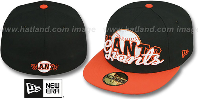 SF Giants 'SCRIPT-PUNCH' Black-Orange Fitted Hat by New Era : pictured without stickers that these products are shipped with