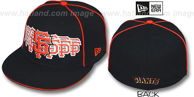 SF Giants 'SEVEN' Black Fitted Hat by New Era : pictured without stickers that these products are shipped with