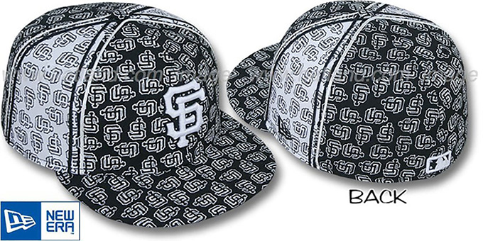 SF Giants SF-'PJs FLOCKING PINWHEEL' Black-White Fitted Hat by New Era : pictured without stickers that these products are shipped with