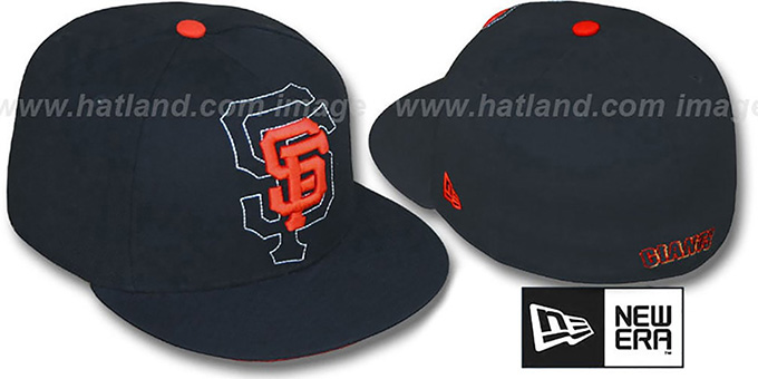 SF Giants 'SHADOW BIG-ONE' Black Fitted Hat by New Era : pictured without stickers that these products are shipped with