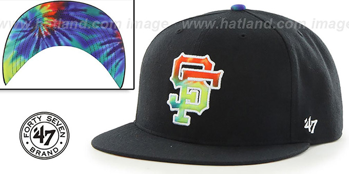 SF Giants 'SHAKEDOWN' Black Fitted Hat by 47 Brand : pictured without stickers that these products are shipped with