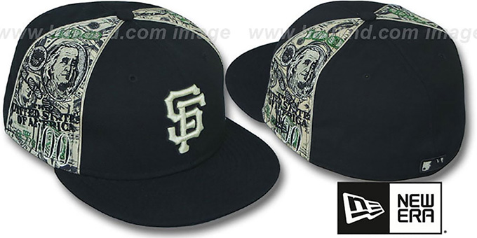 SF Giants 'SHOWMEDA$' Black-Money Fitted Hat by New Era : pictured without stickers that these products are shipped with