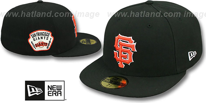 SF Giants 'SIDE TEAM-PATCH' Black Fitted Hat by New Era : pictured without stickers that these products are shipped with