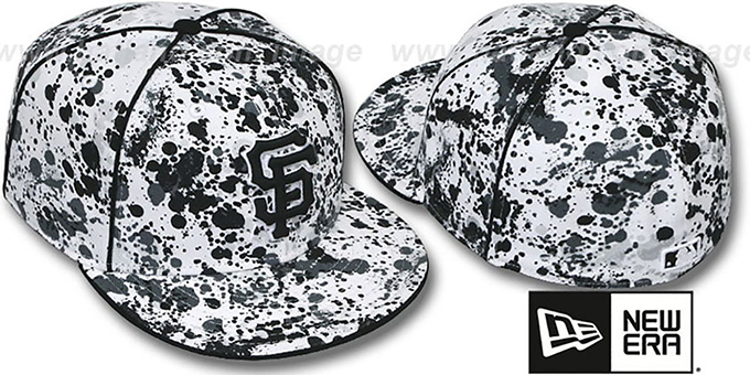 SF Giants 'SPLATTER' White-Black Fitted Hat by New Era : pictured without stickers that these products are shipped with