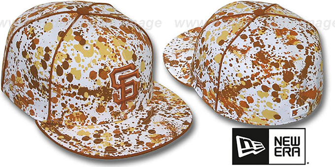 SF Giants 'SPLATTER' White-Orange Fitted Hat by New Era : pictured without stickers that these products are shipped with