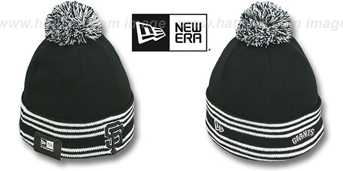 SF Giants 'SPORT-KNIT' Black-Black Beanie Hat by New Era : pictured without stickers that these products are shipped with