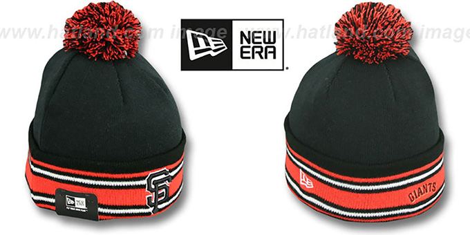 SF Giants 'SPORT-KNIT' Black-Orange Beanie Hat by New Era : pictured without stickers that these products are shipped with
