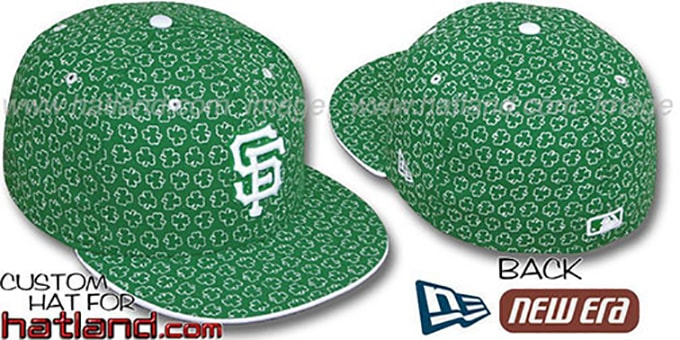 SF Giants 'ST PATS FLOCKING' Kelly Fitted Hat by New Era : pictured without stickers that these products are shipped with