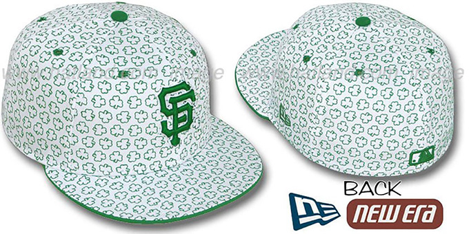 SF Giants 'ST PATS FLOCKING' White Fitted Hat by New Era : pictured without stickers that these products are shipped with