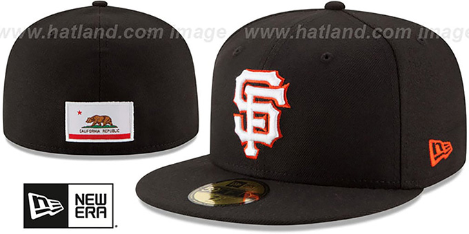 SF Giants 'STATE STARE' Black Fitted Hat by New Era : pictured without stickers that these products are shipped with