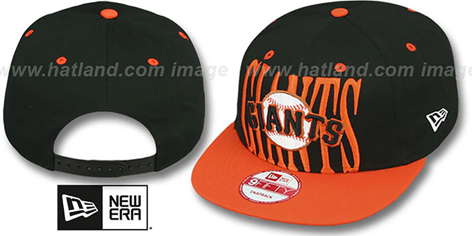 SF Giants 'STEP-ABOVE SNAPBACK' Black-Orange Hat by New Era : pictured without stickers that these products are shipped with