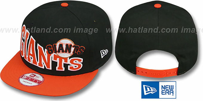 SF Giants 'STOKED SNAPBACK' Black-Orange Hat by New Era : pictured without stickers that these products are shipped with