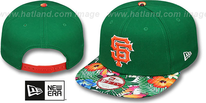 SF Giants 'SUNSHINE BLOOM SNAPBACK' Green-Multi Hat by New Era : pictured without stickers that these products are shipped with