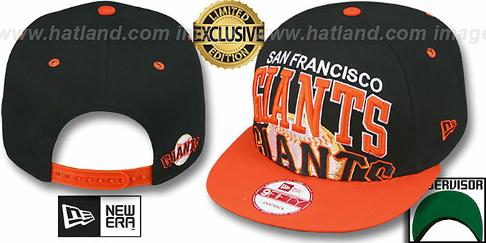 SF Giants 'SUPER-LOGO ARCH SNAPBACK' Black-Orange Hat by New Era : pictured without stickers that these products are shipped with