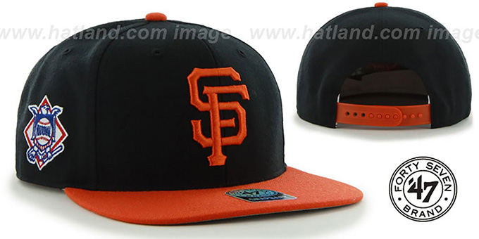 SF Giants 'SURE-SHOT SNAPBACK' Black-Orange Hat by Twins 47 Brand : pictured without stickers that these products are shipped with