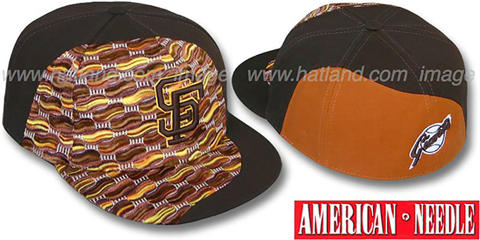 SF Giants 'SWEATER SWIRL' Brown Hat by American Needle : pictured without stickers that these products are shipped with
