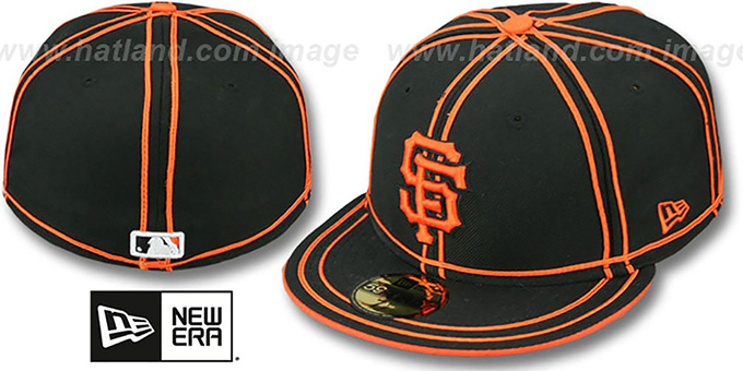 SF Giants 'TACHS' Black-Orange Fitted Hat by New Era : pictured without stickers that these products are shipped with