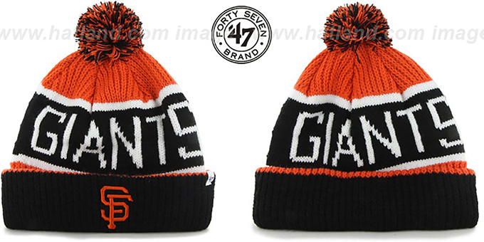 SF Giants 'THE-CALGARY' Black-Orange Knit Beanie Hat by Twins 47 Brand : pictured without stickers that these products are shipped with