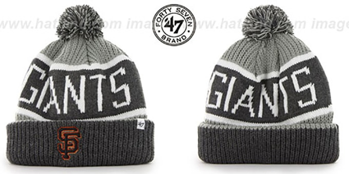 SF Giants 'THE-CALGARY' Grey-Grey Knit Beanie Hat by Twins 47 Brand : pictured without stickers that these products are shipped with
