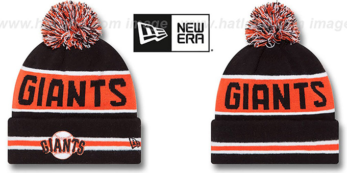 SF Giants 'THE-COACH' Black Knit Beanie Hat by New Era : pictured without stickers that these products are shipped with