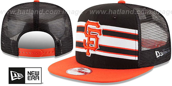SF Giants 'THROWBACK-STRIPE SNAPBACK' Black-Orange Hat by New Era : pictured without stickers that these products are shipped with