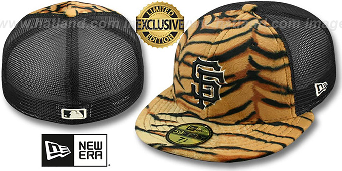 a54a1486293 San Francisco SF Giants TIGER ANIMAL-FUR MESH-BACK Fitted Hat