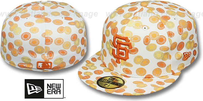 SF Giants 'TOKENS' White-Orange Fitted Hat by New Era : pictured without stickers that these products are shipped with