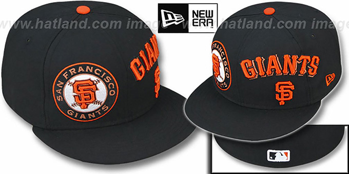 SF Giants 'TRIPLE PLAY' Black Fitted Hat by New Era : pictured without stickers that these products are shipped with
