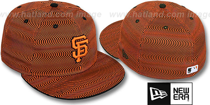 SF Giants 'TRIPPIN' Orange-Black Fitted Hat by New Era : pictured without stickers that these products are shipped with