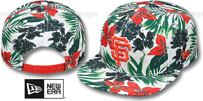 SF Giants 'TROPTRIP BLOOM SNAPBACK' Hat by New Era : pictured without stickers that these products are shipped with
