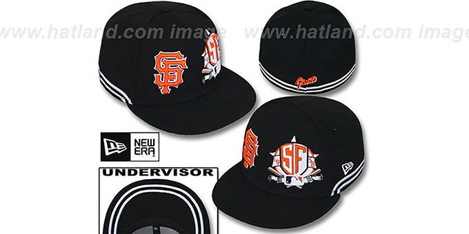 SF Giants 'TWO-BIT' Black-White Fitted Hat by New Era : pictured without stickers that these products are shipped with