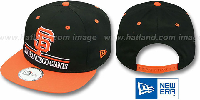 SF Giants 'UNDERLINE SNAPBACK' Black-Orange Hat by New Era : pictured without stickers that these products are shipped with