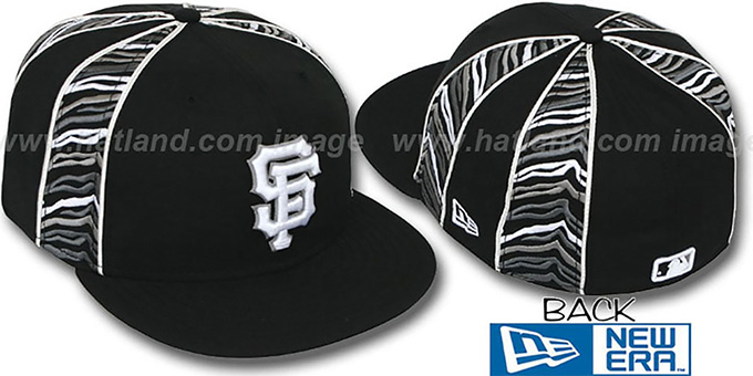 SF Giants 'URBAN JUNGLE' Black Fitted Hat by New Era : pictured without stickers that these products are shipped with