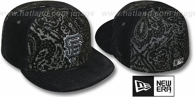 SF Giants 'VELVET PAISLEY' Black Fitted Hat by New Era : pictured without stickers that these products are shipped with