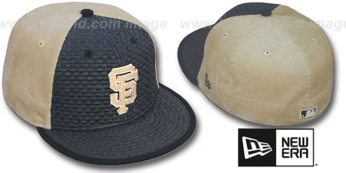SF Giants 'WEAVE-N-CORD' Fitted Hat by New Era - black-tan : pictured without stickers that these products are shipped with