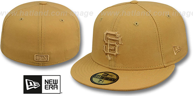 SF Giants 'WHEATOUT' Fitted Hat by New Era : pictured without stickers that these products are shipped with