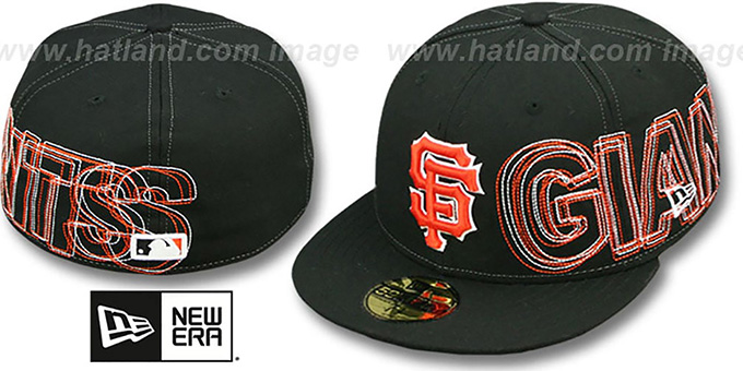 SF Giants 'WORD-WRAP' Black Fitted Hat by New Era : pictured without stickers that these products are shipped with