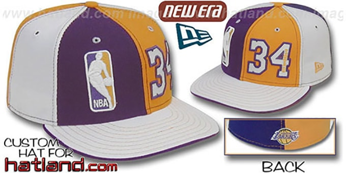 Shaq 'DOUBLE WHAMMY' Purple-Gold-White Fitted Hat : pictured without stickers that these products are shipped with