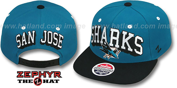 Sharks '2T BLOCKBUSTER SNAPBACK' Teal-Black Hat by Zephyr : pictured without stickers that these products are shipped with