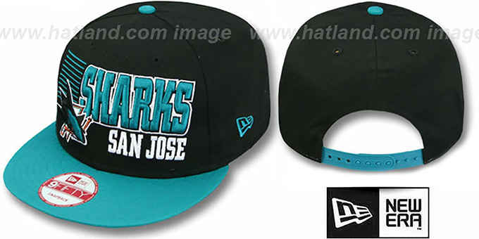 Sharks '2T BORDERLINE SNAPBACK' Black-Teal Hat by New Era : pictured without stickers that these products are shipped with