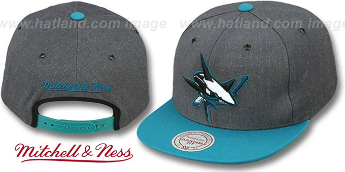 Sharks '2T-HEATHER SNAPBACK' Grey-Teal Hat by Mitchell & Ness : pictured without stickers that these products are shipped with