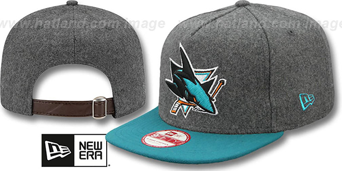 Sharks '2T MELTON A-FRAME STRAPBACK' Hat by New Era : pictured without stickers that these products are shipped with