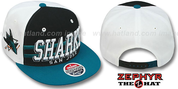 Sharks '2T SUPERSONIC SNAPBACK' Black-Teal Hat by Zephyr : pictured without stickers that these products are shipped with